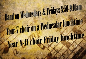 Choir and band times.