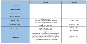 Easter Revision Timetable