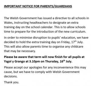 IMPORTANT NOTICE FOR PARENTS/GUARDIANS