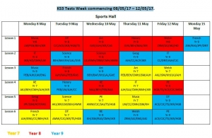 KS3 Tests Week commencing 08/05/17 – 12/05/17