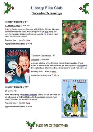 Library film club, December screenings.