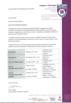 Year 10 and 11 Revision Sessions