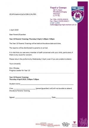 Year 10 Parents' Evening: Thursday 4 April, 5.00pm-7.00pm