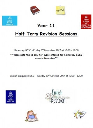 Year 11 Half Term Revision Sessions