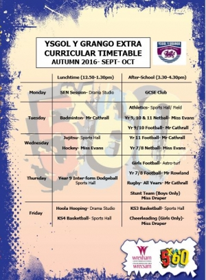 Ysgol y Grango extra curricular timetable Autumn 2016 - Sept - Oct